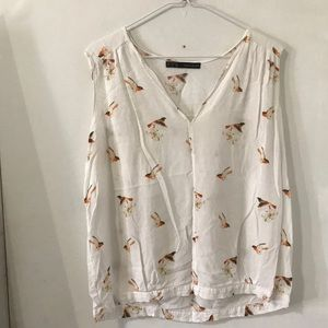 Zara basic bird blouse